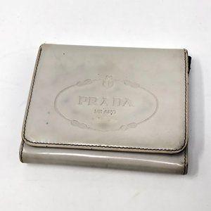 Prada Grey Patent Leather Wallet